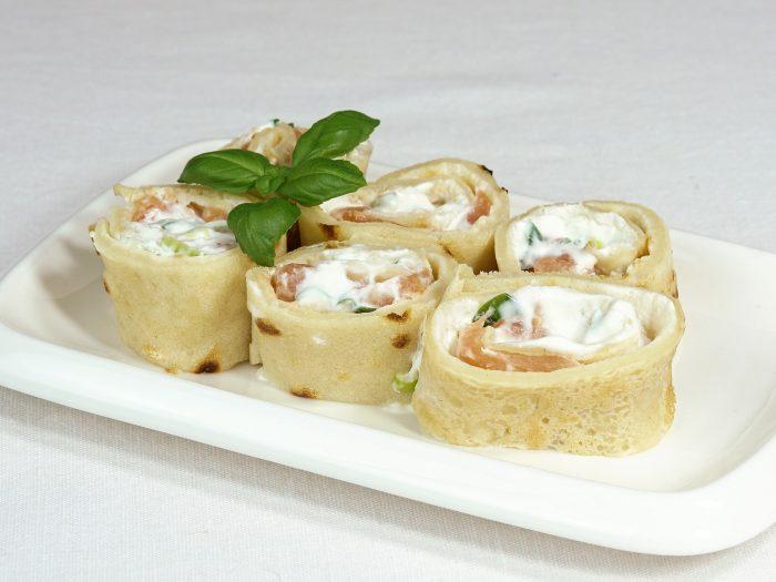 creps salmón y queso