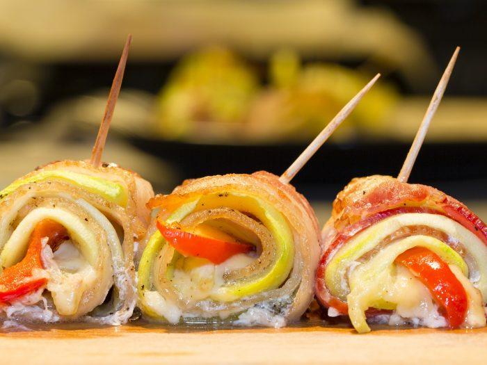 Rollos de Tocino y Verduras, rollitos de tocino